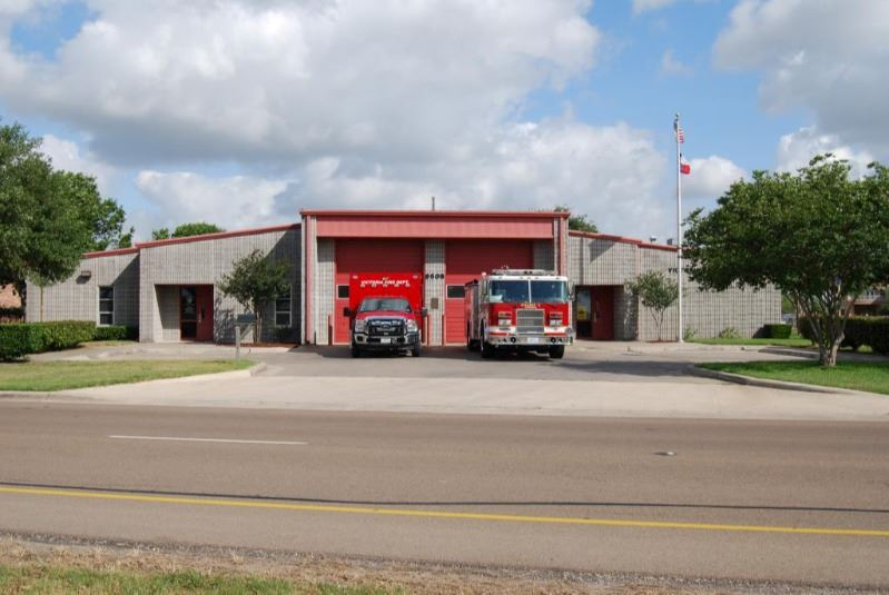 Victoria Fire Department Station 5 with two emergency vehicles parked outside