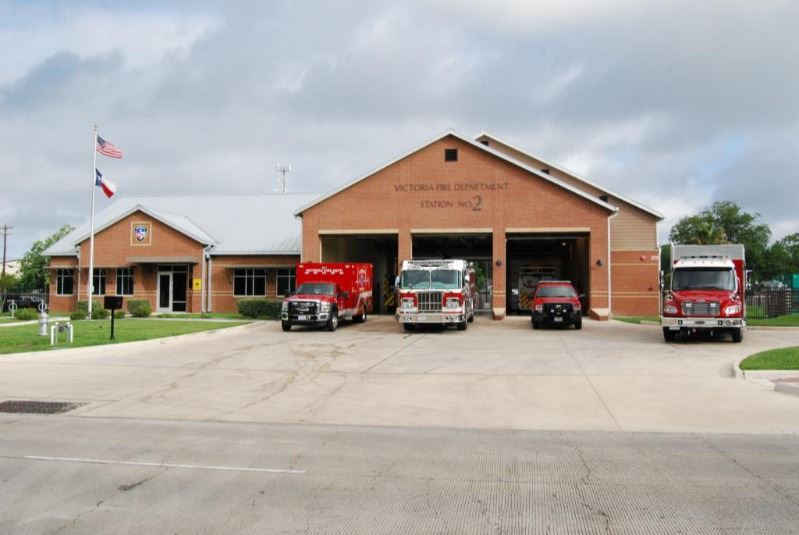 Victoria Fire Department Station 2, with four emergency services vehicles parked outside