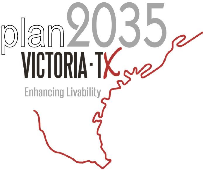 Victoria 2035 Comprehensive Plan Logo. The logo uses the outline of the South Central Texas Coast an